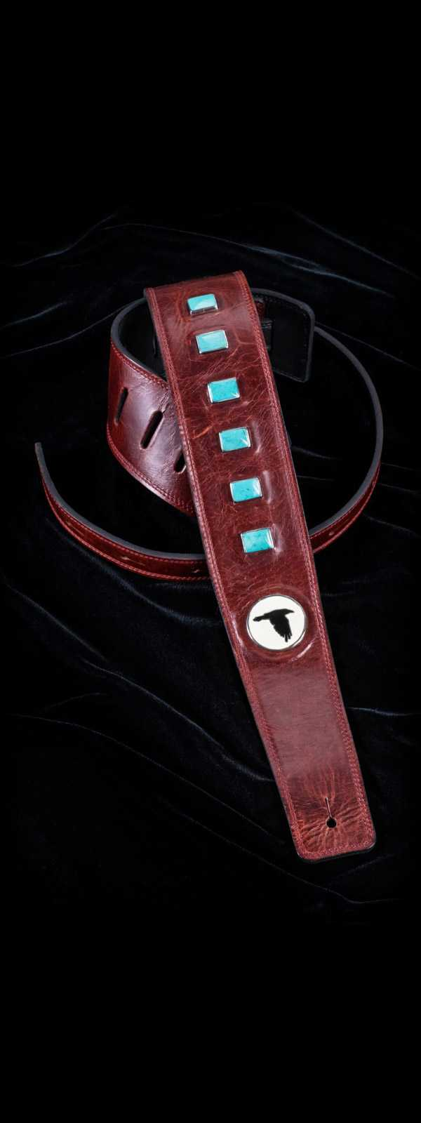 The Raven Works 6-Stone Turquoise/Oxblood Guitar Strap