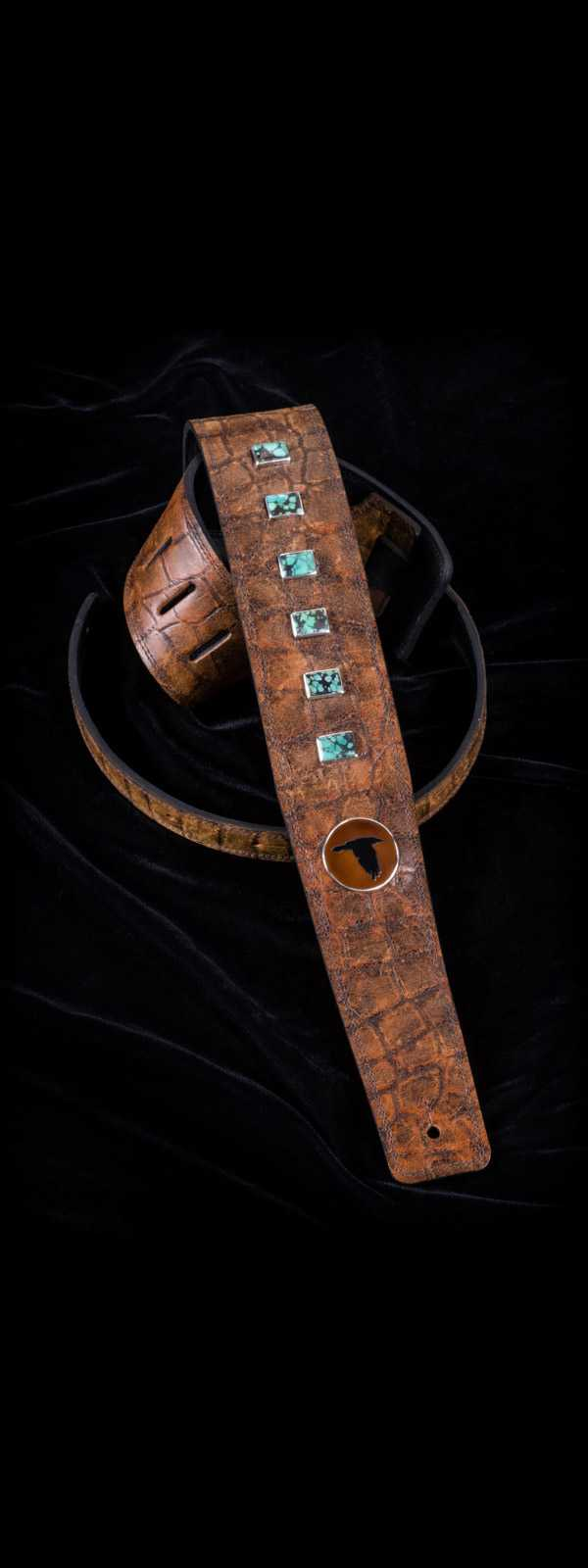 The Raven Works 6-Stone Turquoise/Amber-and-Black Reptile Guitar Strap