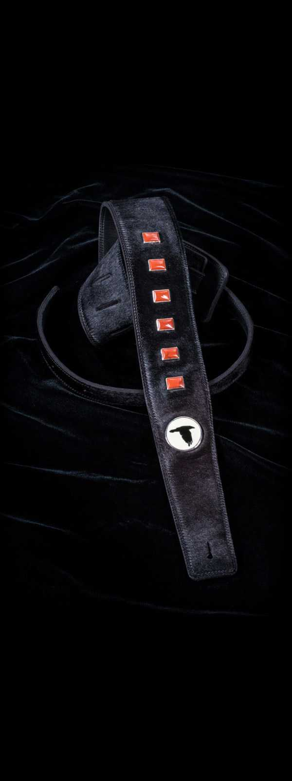 The Raven Works 6-Stone Red Jasper/Black Hair-On Hide Guitar Strap