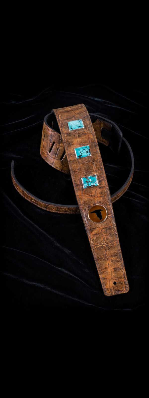 The Raven Works 3-Stone Turquoise/Amber-and-Black Reptile Guitar Strap