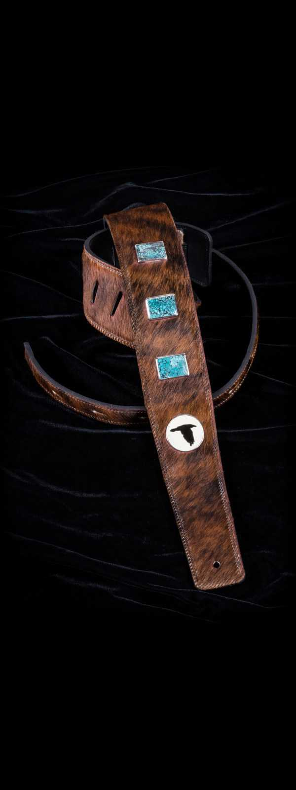 The Raven Works 3-Stone Turquoise/Amber-and-Black Hair-On Guitar Strap