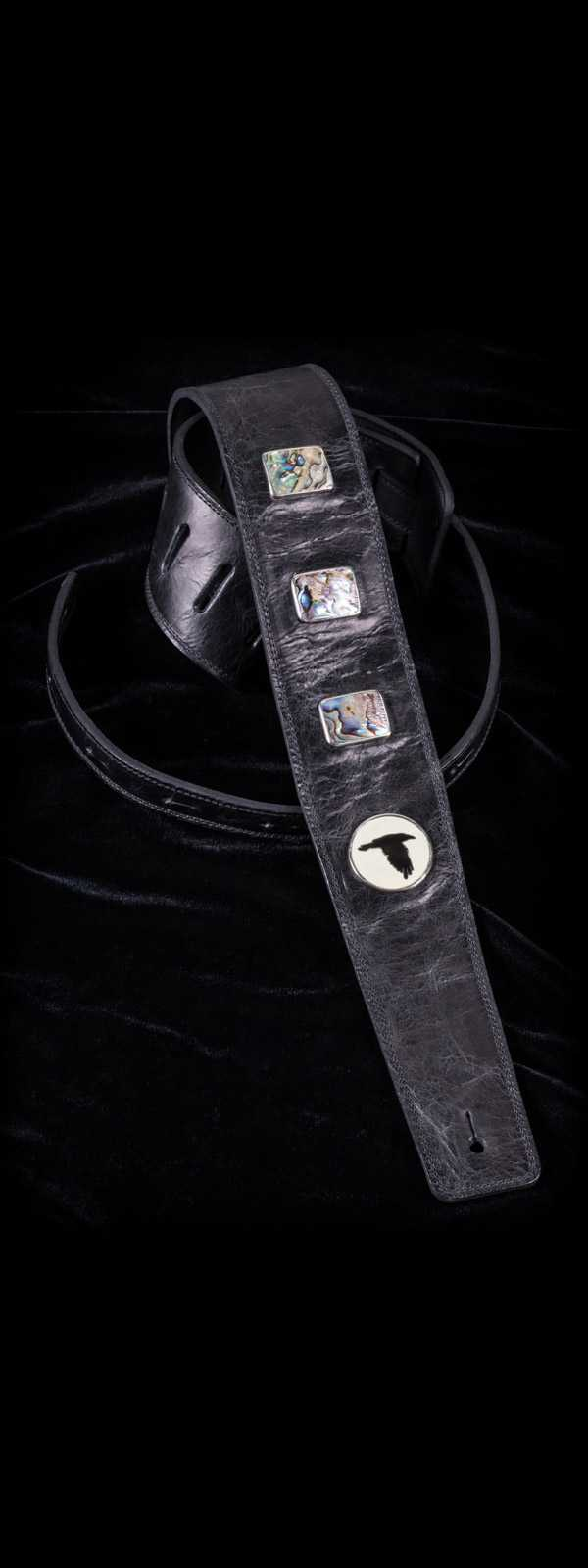 The Raven Works 3-Shell Abalone Distressed Black Leather Guitar Strap