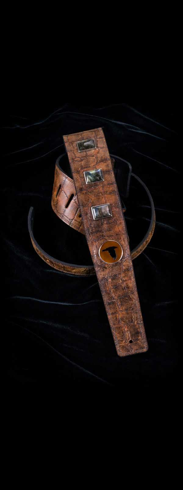 The Raven Works 3-Stone Labradorite/Amber-and-Black Reptile Guitar Strap