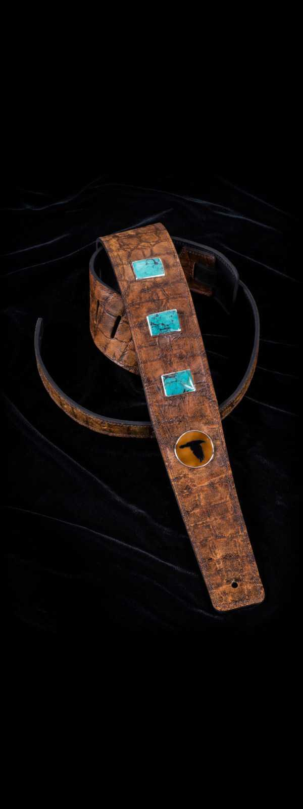 The Raven Works 3-Stone Turquoise/Amber-and-Black Reptile Hide Guitar Strap