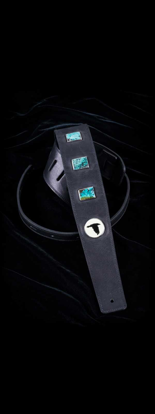 The Raven Works 3-Stone Turquoise Distressed Black Leather Guitar Strap