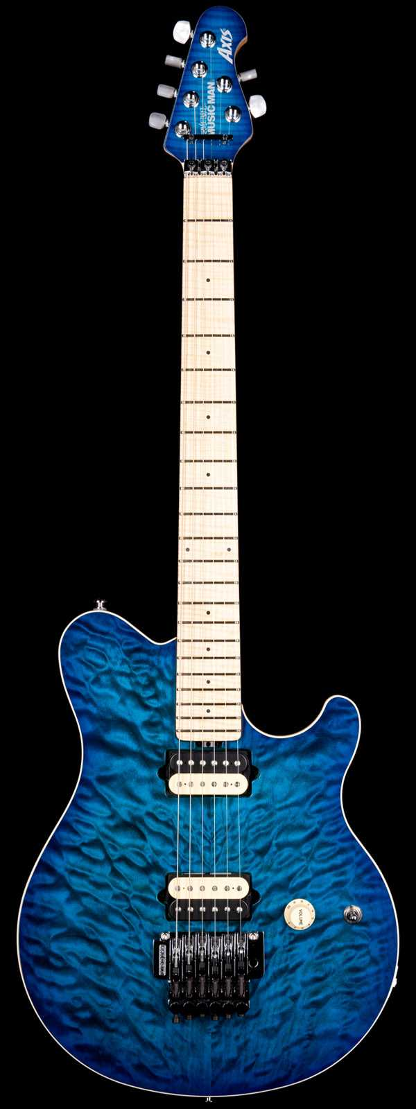 Ernie Ball Music Man Axis Quilt Balboa Blue Burst with Matching Headstock