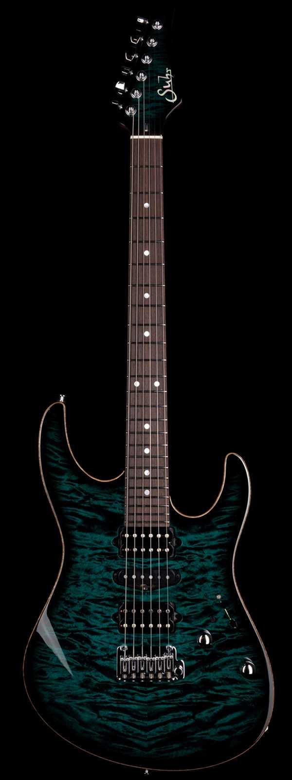 Suhr Custom Modern Quilt Maple Top Roasted Maple Neck Blue Green Black Burst