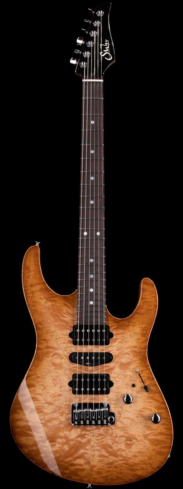 Suhr Custom Modern Quilt Maple Top Indian Rosewood Board Brown Burst