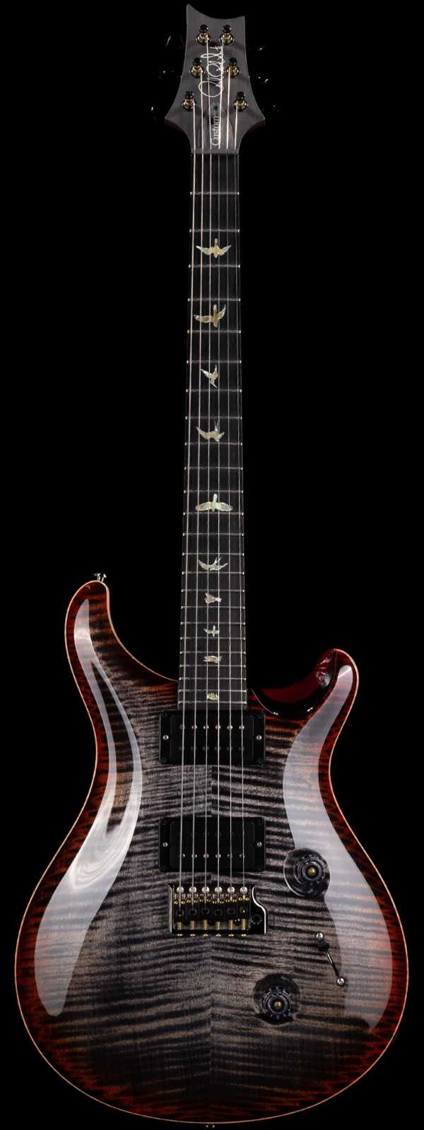 PRS Wood Library Custom 24 Vampire Flame 10 Top Ebony Board Charcoal Cherry Burst