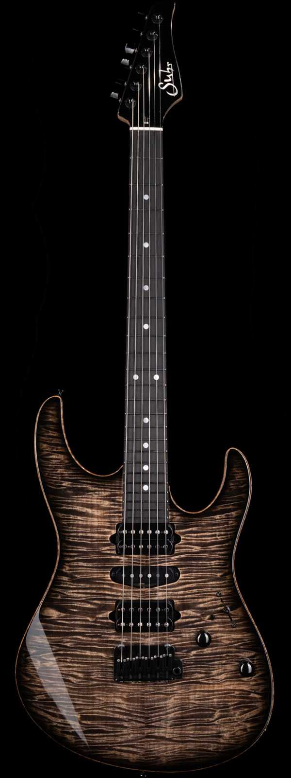 Suhr Custom Modern Flame Maple Top Ebony Board Trans Charcoal Burst
