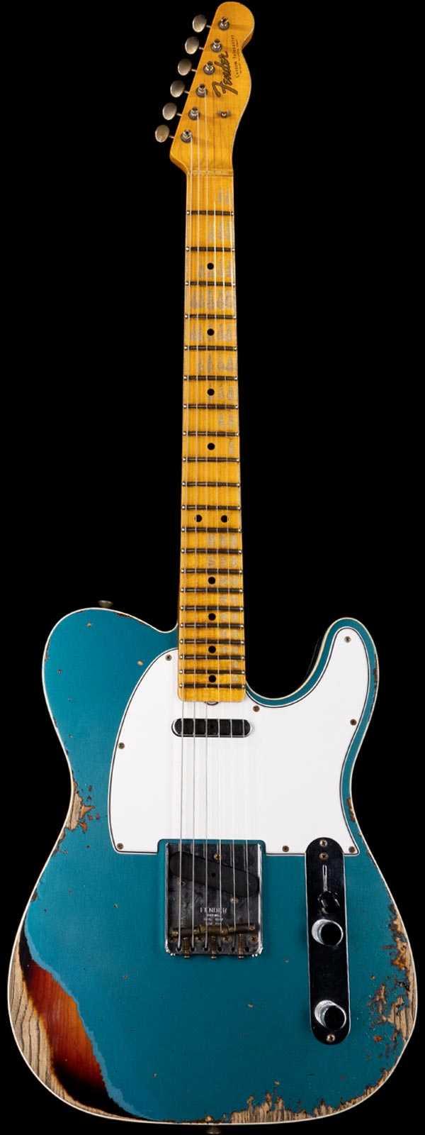 Fender Custom Shop Limited 1965 Telecaster Heavy Relic Aged Ocean Turquoise over 3-Tone Sunburst