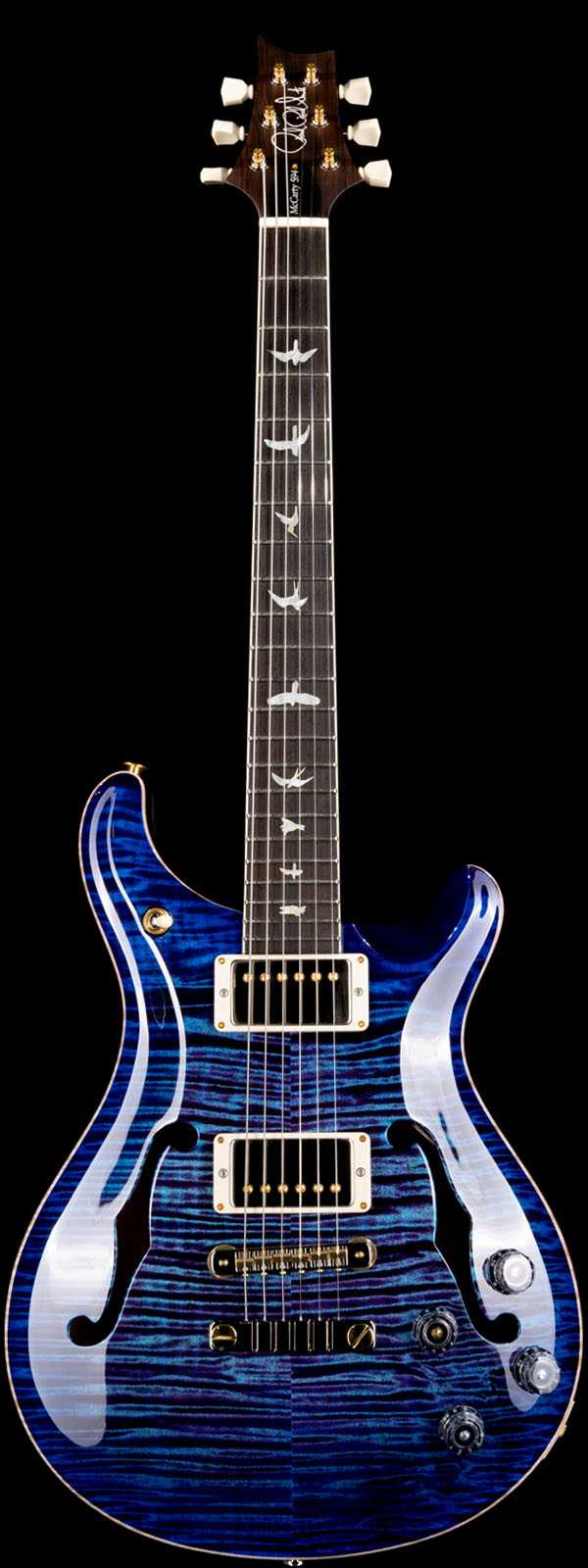 PRS Wood Library McCarty 594 Hollowbody II Flame Maple 10 Top Violet Blue Burst