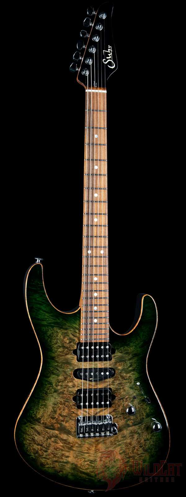 Suhr Modern Burl Top Green Burst Roasted Maple Neck