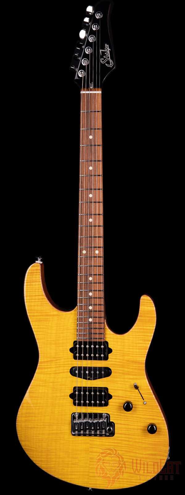 Suhr Custom Modern Flame Maple Top Khaya Neck Trans Lemon Yellow