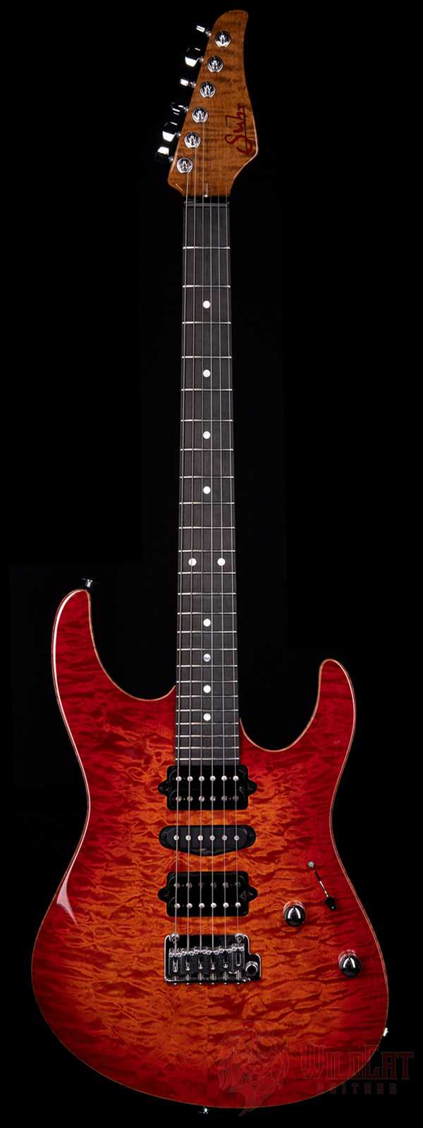 Suhr Custom Modern Fireburst Quilt Maple Top Roasted Flame Maple Neck
